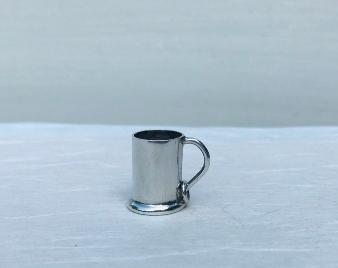 Vintage Miniature Silver Tankard Charm or Pendant / Dolls House Mug
