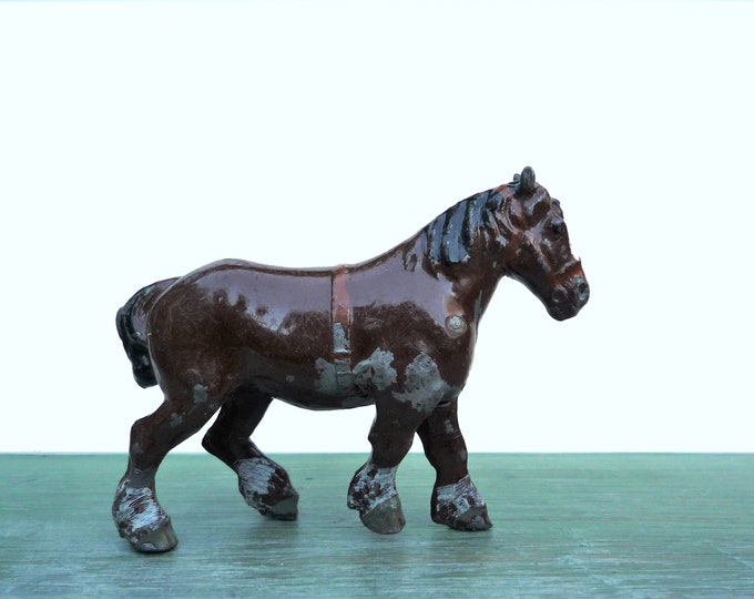 Vintage Britain's Miniature Lead Farm Shire Horse, Chestnut Brown 506