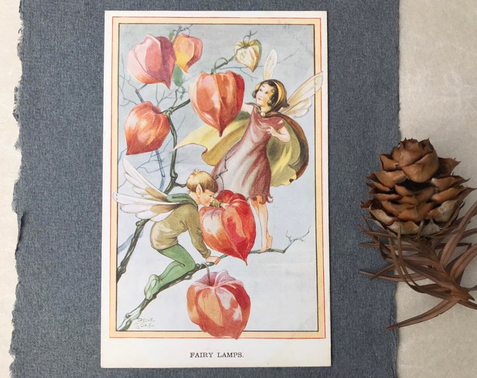 Vintage Postcard by Rene Cloke, Fairy Lamps Valentine 3331 Artist Card