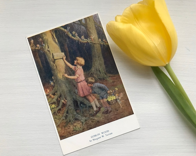 1930s Fairy Postcard by Margaret Tarrant, Goblin Wood with Children & Spring Flowers, Medici Society