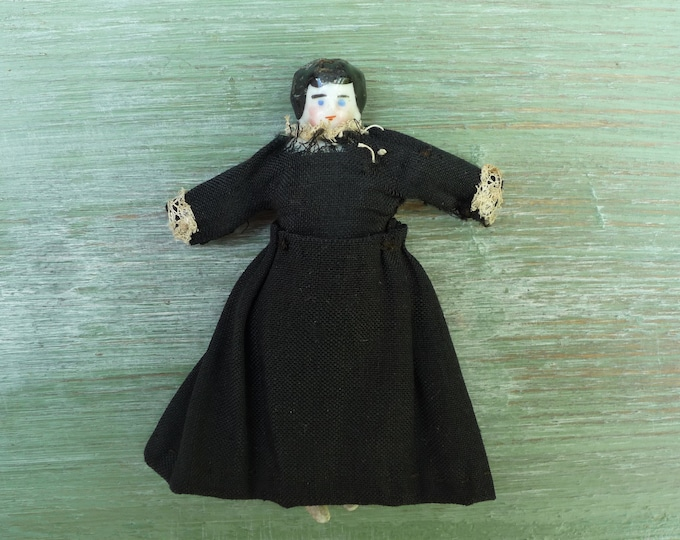 Antique Miniature Porcelain Doll in Black Dress for the Dolls house