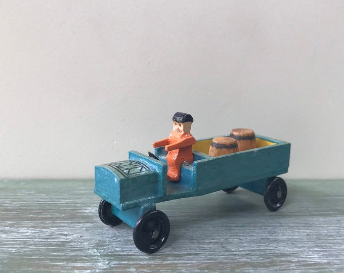 Vintage Erzgebirge Miniature Wooden Vehicle, Truck, Barrels & Driver