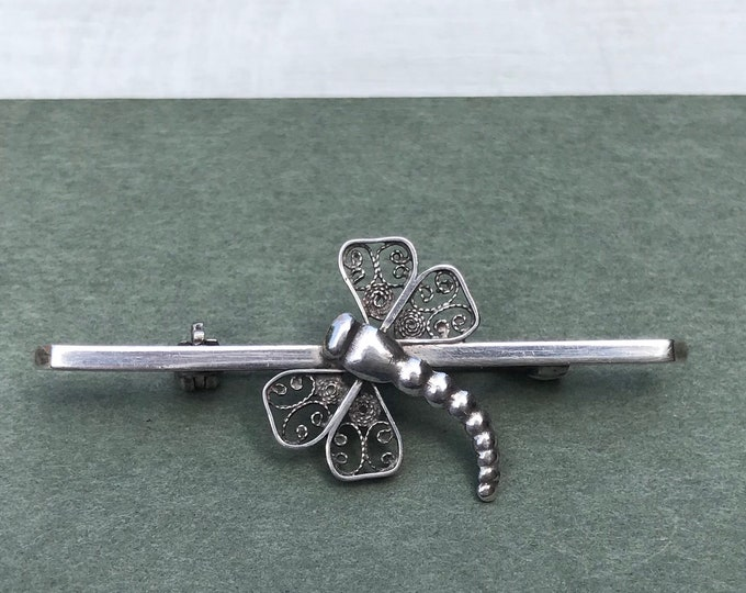 Dragonfly Brooch, Vintage Silver Filigree Wing Insect Lapel or Tie Pin