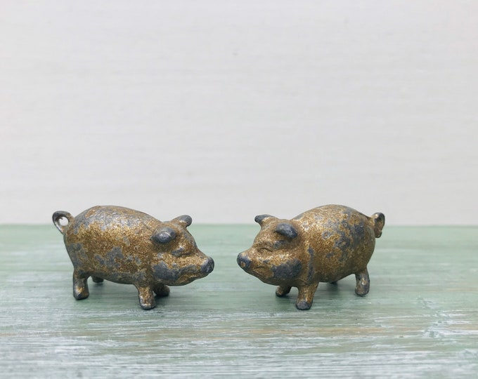 Vintage Miniature Lead Pigs with Curly Tails, Farm Animal Figures
