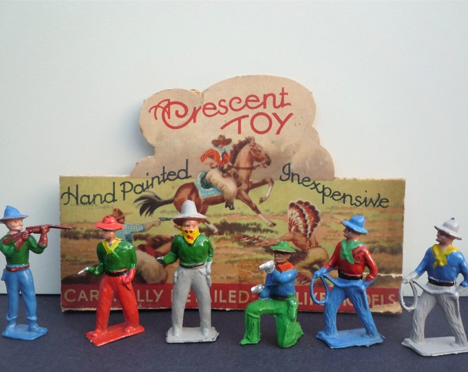 Crescent Cowboys 1950s Miniature Toy Hollow-Cast Lead Wild West Figure
