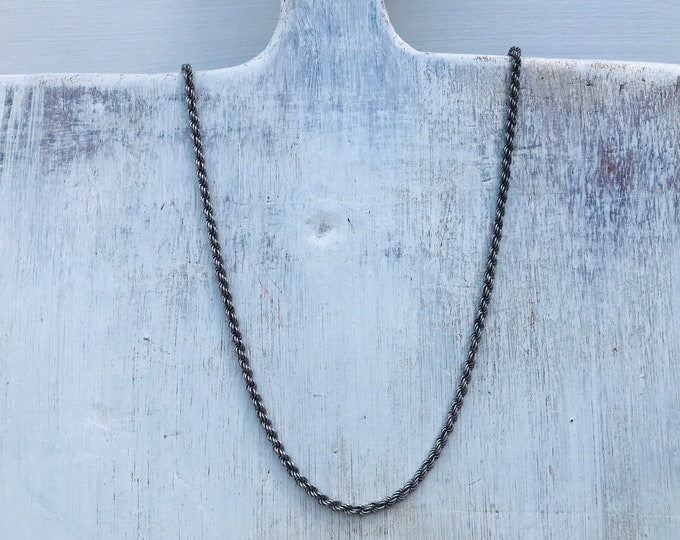 Vintage Silver Rope Twist Chain Necklace with an Aged Patina