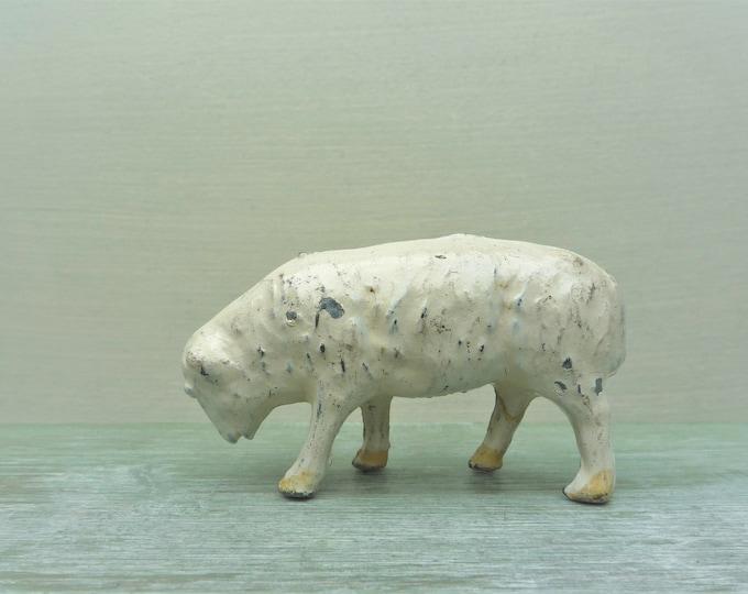 Vintage Miniature Sheep Figure, Britains Era Lead Toy Farm Animal Figure