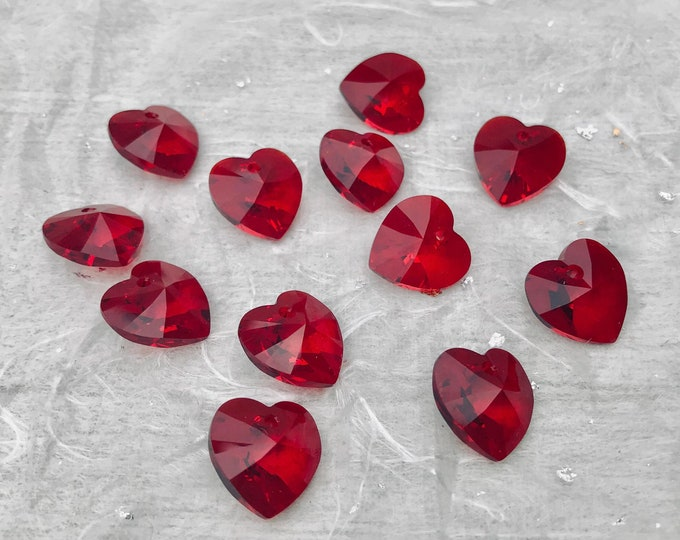 Swarovski Crystal 6228 Xilion Red Glass Heart Pendants, 14 mm Charms