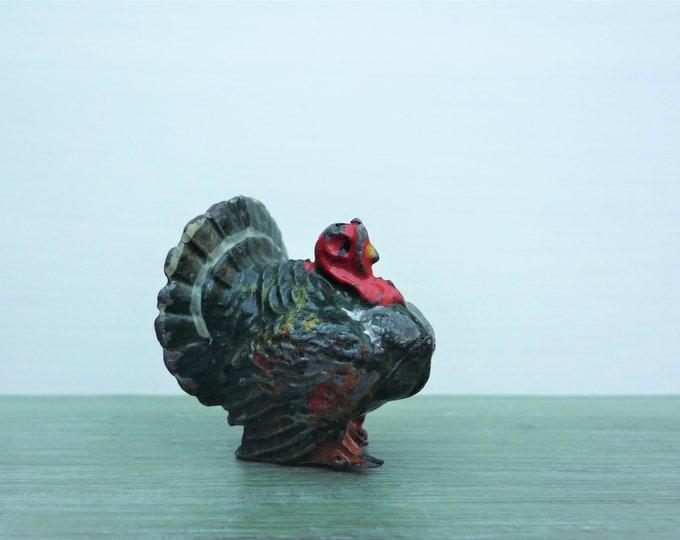 Vintage Britains Miniature Lead Turkey, Tiny Farm Animal Figure, 515