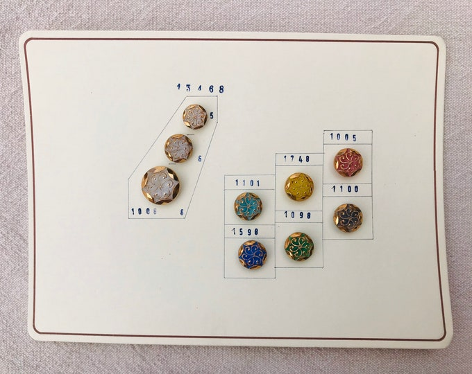Vintage German Glass Buttons in Bright Jewel Colours & Gold Decoration