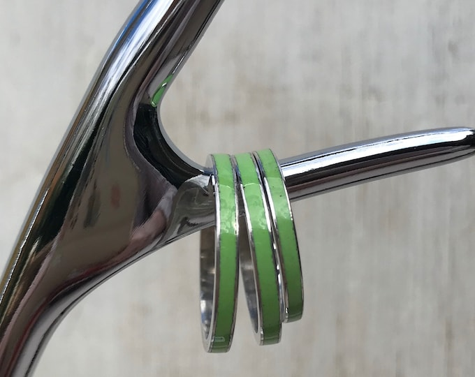 Vintage Green and Silver Stacking Band Ring, Bernard Instone Jewellery