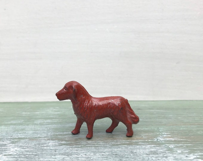Miniature Brown Dog, Vintage Mid Century Animal Figure Dolls House Pet