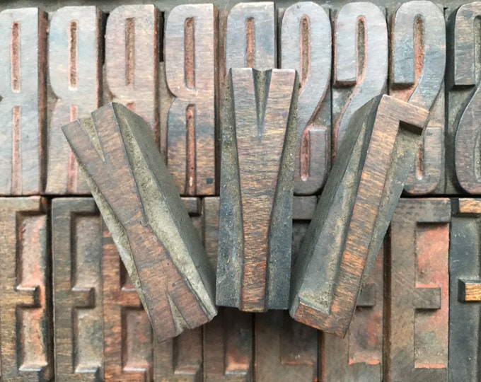 Vintage Wooden Printers' Block Capital Letters, Letterpress Wood Type