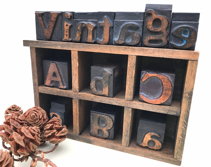 "Antique 1"" Wooden Letterpress Printers Wood Type Letter Blocks, Words"