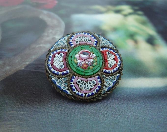 Vintage Millefiori & Micro Mosaic Colourful Round Brooch, Boho Jewelry