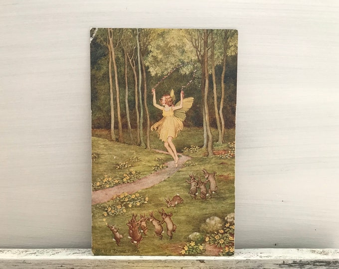 "Ida Rentoul Outhwaite Elves & Fairies ""She is a Spring Fairy"" Postcard"