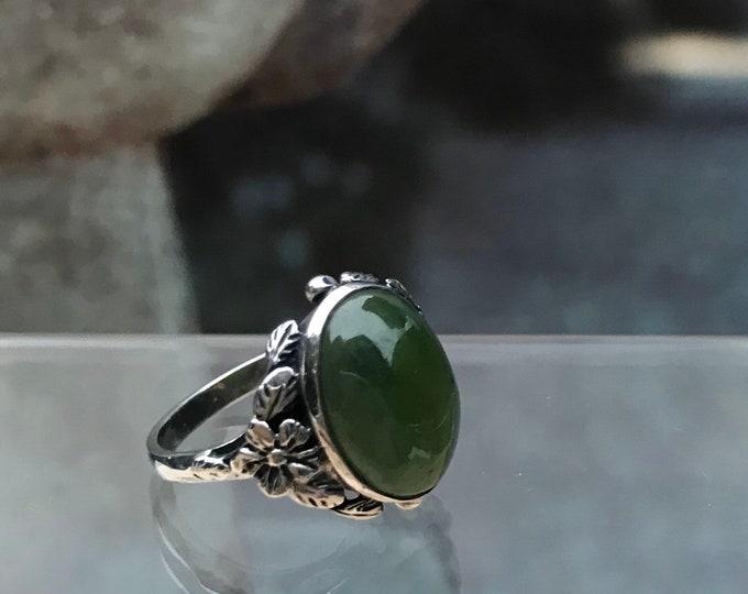 Vintage Green Chrysoprase & Silver Floral Ring, Bernard Instone Style