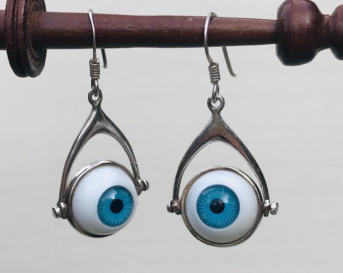 Vintage Halloween Googly Eye Sterling Silver Drop Earrings