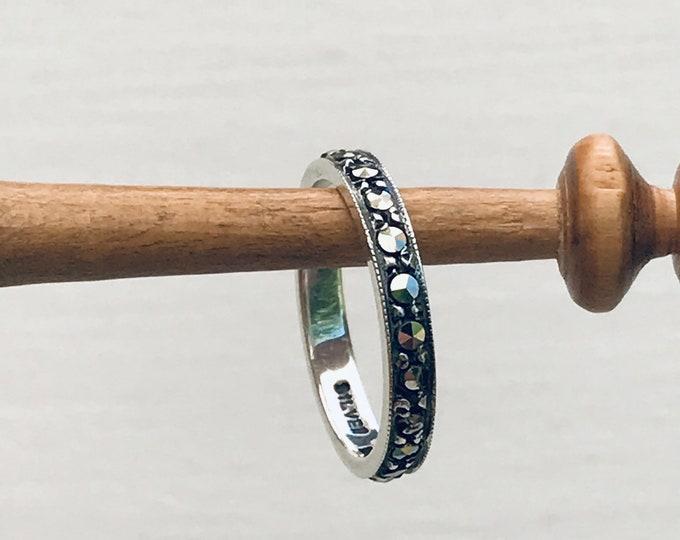 Bernard Instone Silver & Marcasite Eternity Ring, Vintage Jewellery
