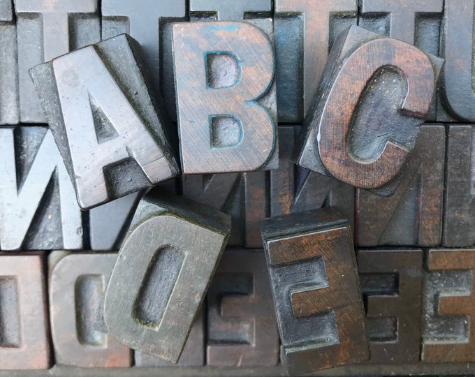 Wooden Letterpress Print Block Capital Letters, Wood Type Alphabet