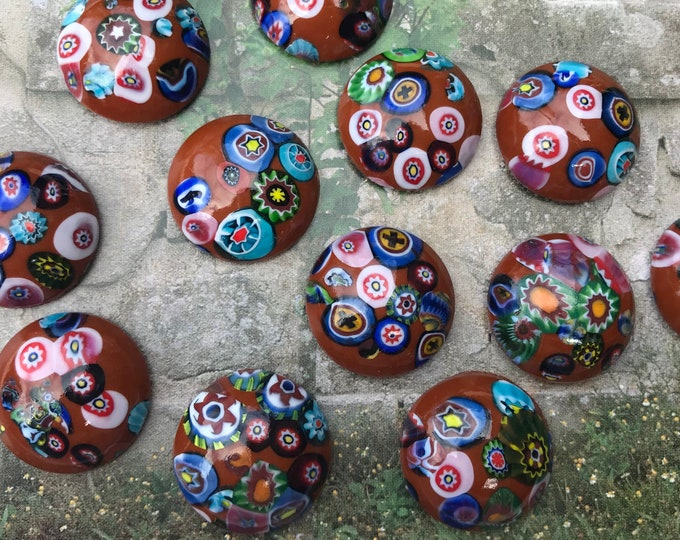 """12 Vintage Millefiori Glass Round Cabochons, Brown & Rainbow Colours, 12 Pieces in Original Packaging, Made in Czechoslovkia, 3/4"""", 20 mm"""