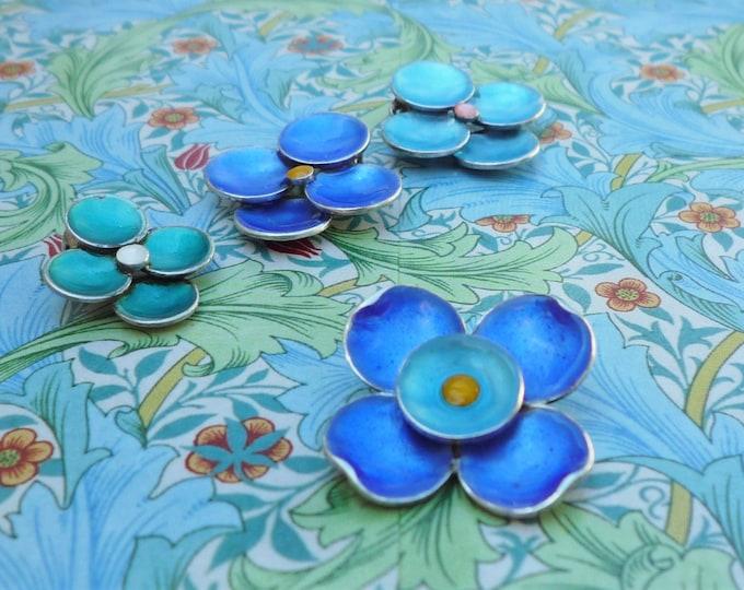 Vintage Jewellery Component Silver & Enamel Flowers by Bernard Instone, Faults