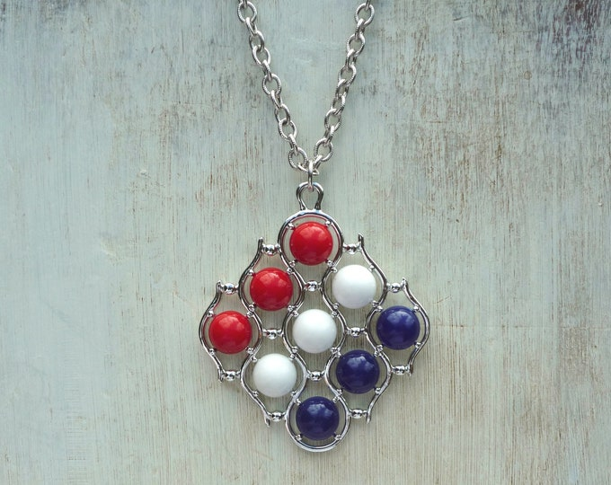 Sarah Coventry Three Cheers Red White and Blue Pendant Necklace 1973