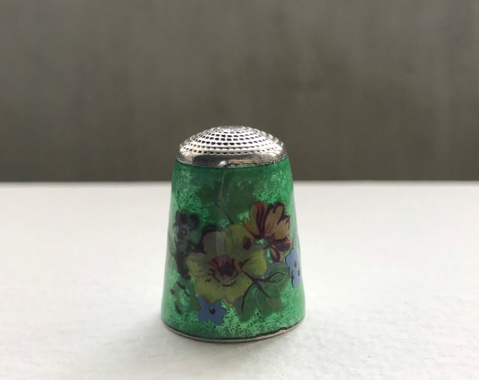 Sterling Silver and Green Enamel Floral Thimble by James Swann 1970s