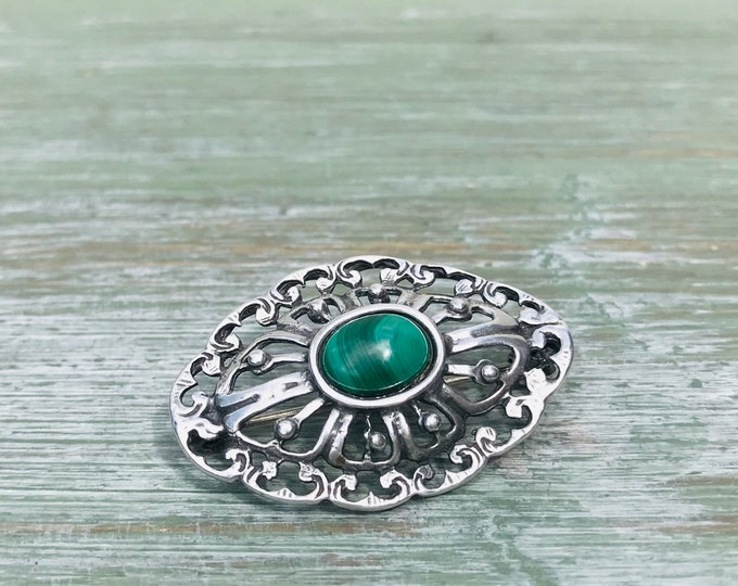 Vintage Silver Jewellery, Striped Green Agate or Malachite Pin Brooch
