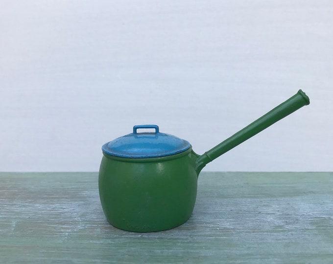 Vintage Britains Lead Dolls House Miniatures, Blue & Green Saucepan