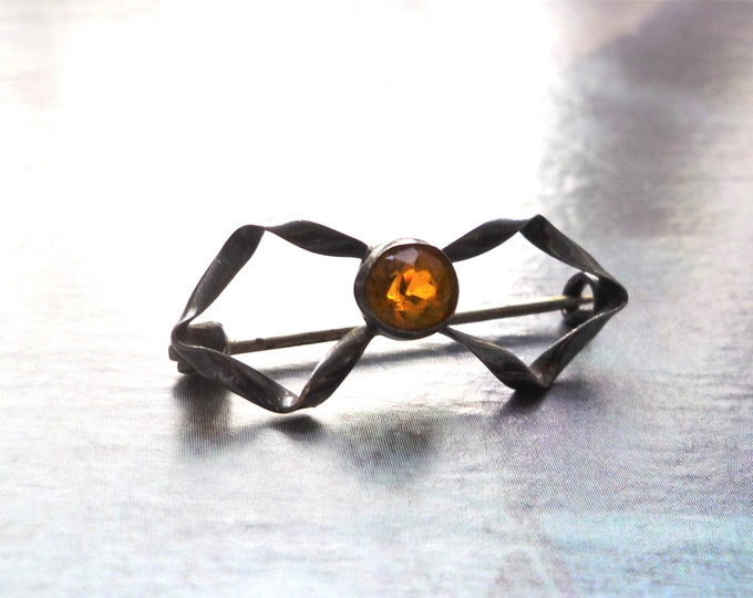 Victorian Lace-Pin or Fichu Brooch, Silver & Amber Glass Jewellery