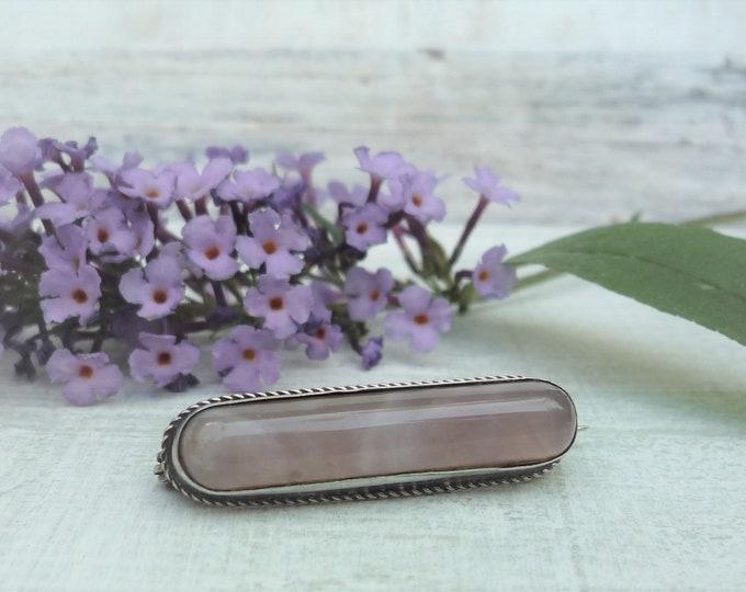 Rose Quartz Silver Brooch, Smokey Pink Grey Small Pin, Vintage Jewelry