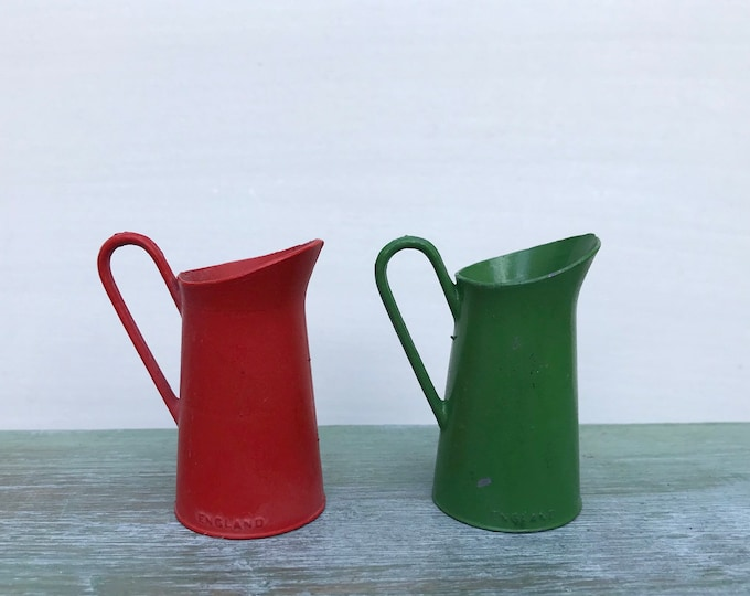 Vintage Britains Miniature Lead Pitcher, Dolls House Red Green Jugs