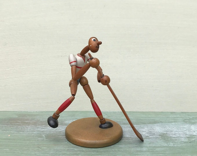 Vintage Hockey Player Collectable, Mid Century German Sports Figure