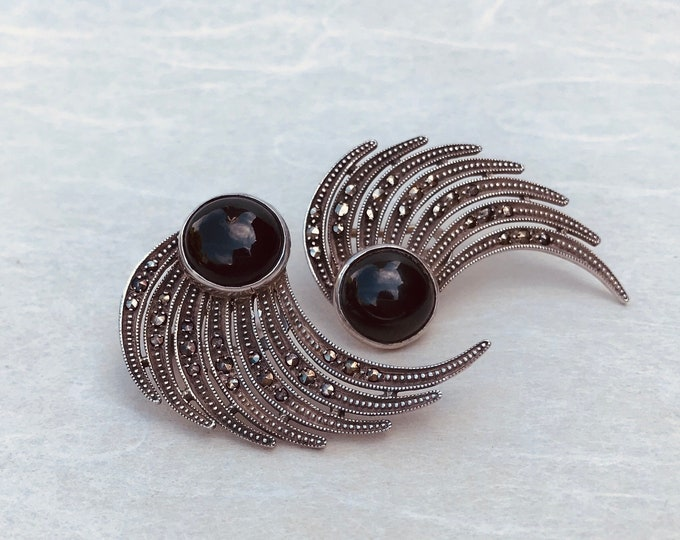 Art Deco Earrings, Silver, Marcasite & Black Cabochon Vintage Jewelry