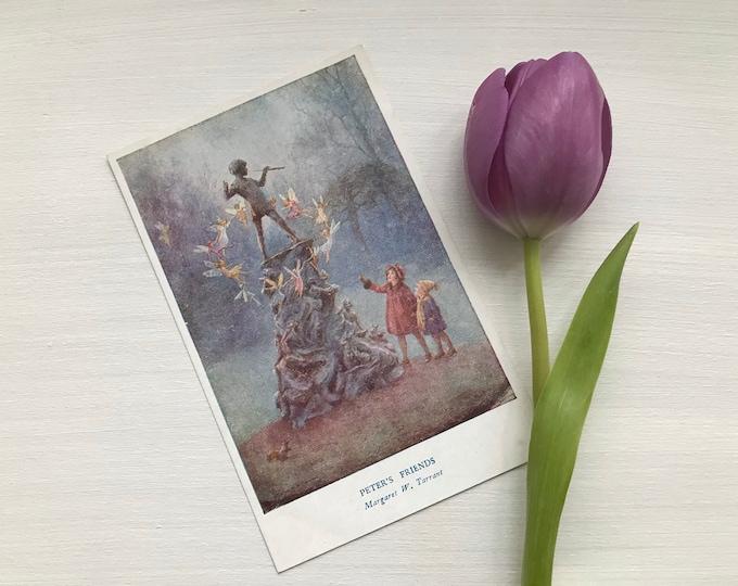"Vintage Medici Fairy Postcard Illustration by Margaret Tarrant ""Peter's Friends"" Peter Pan Statue JM Barrie"