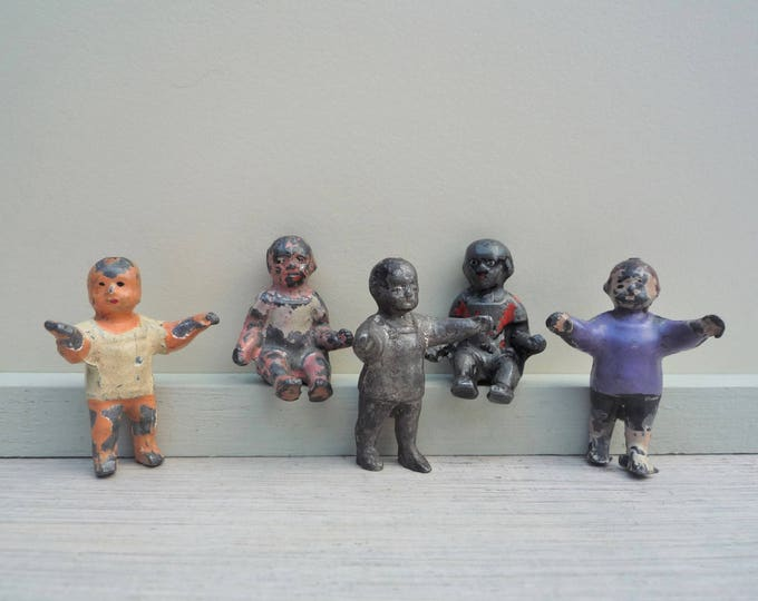 Tiny Antique Lead Dolls, Stoddart Baby Toddler Doll Miniature Figures
