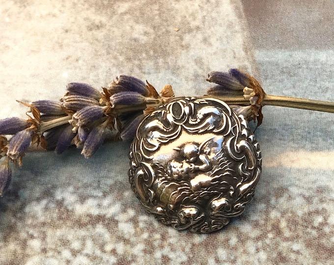 Edwardian Sterling Silver Cherub Button, Levi & Salaman Art Nouveau