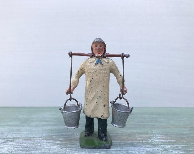 Britains Lead Farm Figure, Dairyman Farmer with Yoke & Pails 591