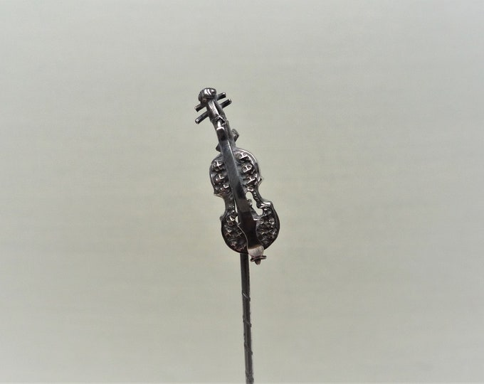 Vintage Miniature Violin Silver Stick Pin, Brooch, Gift for Musician
