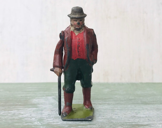 Vintage Britain's Lead Farmer with Articulated Arm and Stick, Miniature Farm Figure
