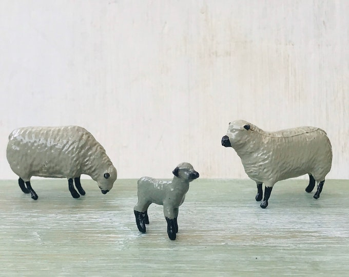 Britains Sheep and Lamb, Vintage Miniature Lead Farm Animal Figures