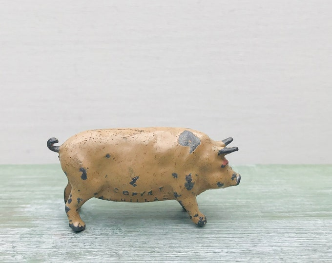 Vintage Miniature Pig, Johillco John Hill Hollow-cast Lead Animal, Britains Era Farm