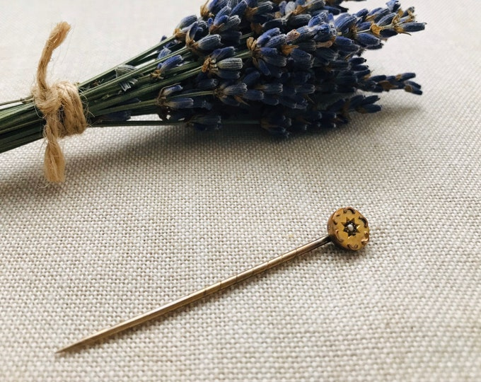Antique Gold Seed Pearl Stick Pin, Vintage Floral Tie or Lapel Pin
