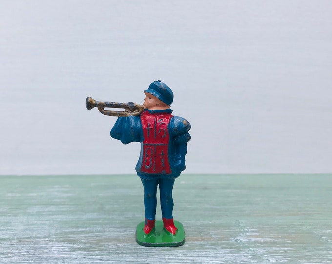 Vintage Miniature Lead Toy Herald Figure, Red & Blue Bugler