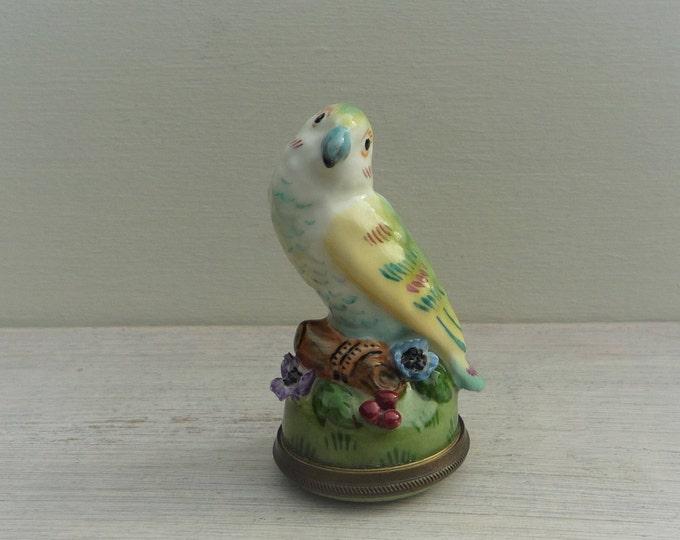 Miniature Parrot Staffordshire Enamels Chelsea Bonbonnière Trinket Box