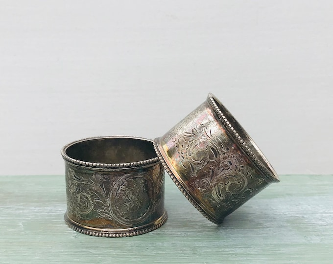 Victorian Sterling Silver Napkin Rings, Henry Bourne Bham 1901 Patina