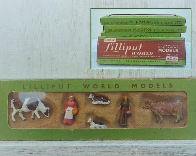 Britains Lilliput World, Vintage Miniature Lead Farm Animals & Farmers