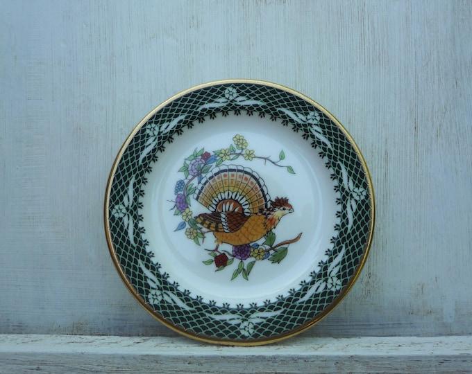 Vintage Franklin Porcelain Trinket Dish, Green & Gold Butter Pat Dish