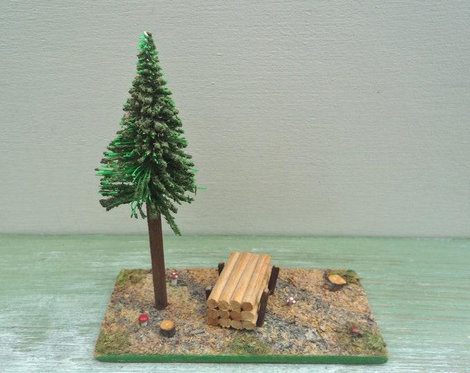 Vintage Miniature Forest Diorama, Erzgebirge German Wooden Scene, Tree, Toadstools, Logs